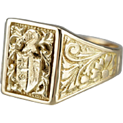 Ornate Coat of Arms Men's Statement Ring