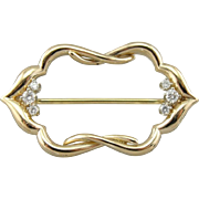Fabric Framing: Diamond Brooch in 14K Yellow Gold