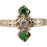 Diamond and Demantoid Garnet Dinner Ring