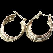 A Multi-Color Signature: Tri-Color Hoop Twist Earrings