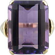 Large Amethyst Cocktail Ring, Simply Decorated Classic Mounting