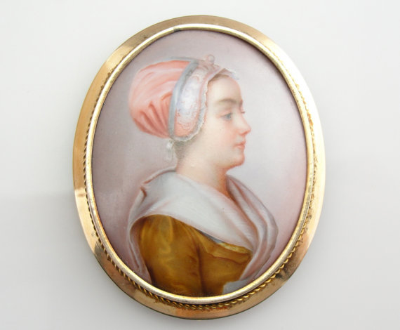 Exquisite victorian enamel color cameo brooch from for Alex paint porcelain jewelry