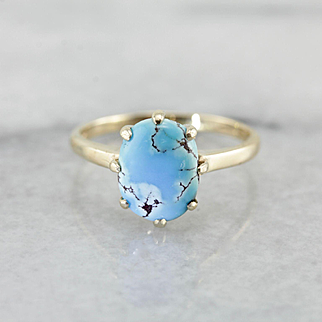 Bright Blue Turquoise Ring, Vintage Prong Set Solitaire