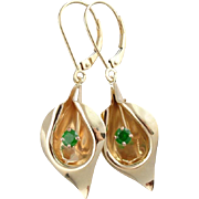 Golden Calla Lily & Green Demantoid Garnet Flower Earrings