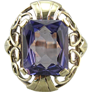 Synthetic Alexandrite Cocktail Ring in Vine-Like Filigree Mounting