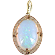 Important Collector's Gemstone Pendant, Ethiopian Opal In Filigree 14K Gold
