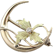 Ivy Moon, Art Nouveau Crescent Moon and Diamond Pin
