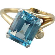 Sweeping Blue Topaz Cocktail Ring, Asymmetric Style
