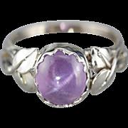 Botanical Star Sapphire White 14 Karat Gold Ring, Purple Gem Cocktail Ring