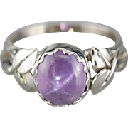 Botanical Star Sapphire White 14 Karat Gold Ring, Purple Gem Cocktail Ring