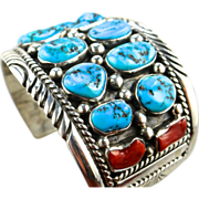 Tommy Moore Sterling Silver Cuff Bracelet with Fine Turquoise, and Coral Gems, Vintage Navajo, Native American