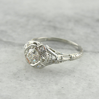 Stunning Art Deco Diamond Engagement Ring with Architectural Details
