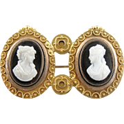 Twin Onyx Cameo Brooch in 14K Yellow Gold, Double Portraiture and Etruscan Style Milgrain