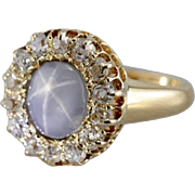 Old Mine Cut Diamond and Star Sapphire Halo Ring