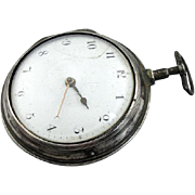 1799 Verge Fusee Pocket Watch In Sterling Silver Case, Very Rare
