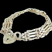 Vintage Gate Link Bracelet with Padlock Clasp