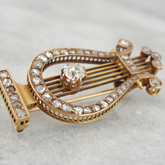 Antique Musical Lyre Brooch, 18K Rose Gold, Fine Mine Cut and Rose Cut Diamonds