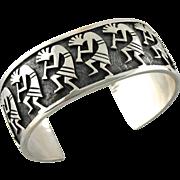 Unisex Carved Kokopelli Bracelet, Tribal Sterling Silver Bracelet, Wide Cuff Bracelet