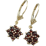 Romantic Red Garnet Drop Earrings, Simple Cluster Settings in 14K Yellow Gold