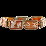 14K Gold Vintage Cameo Link Bracelet, Chariots of the Greek Gods and Goddesses