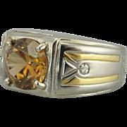 High End Retro Era Mens Ring with Rare Zircon Gemstone, Ladies Cocktail Ring, Fine