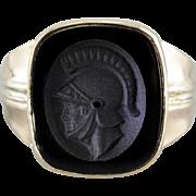 Men's All Original Black Onyx Intaglio Ring