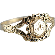 "Victorian ""A"" Monogramed Signet Ring"