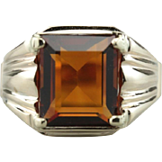 Brandy for Him: Men's Fine Brandy Citrine Right Hand Ring