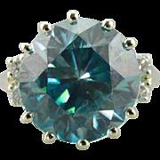 Blue and Green, Blue Zircon Morgan Ring in Modern 14K Green Gold
