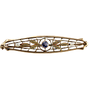 Lovely Antique Natural Seed Pearl and Sapphire Doublet Brooch