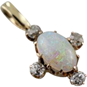 Antique Opal and Diamond Drop, Vintage Opal Layering Pendant