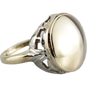 Polished Domed 14K Yellow and White Gold Mixed Metal Signet Ring