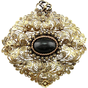 Lovely Quilled Filigree Brooch or Pendant with Spectrolite Cat's Eye Center