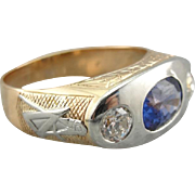 Upcycled Modernist Masonic Men's Ring with Sapphire Center, Retro Era Setting with Ceylon Sapphire, One of a Kind