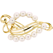 Vintage 14k yellow gold brooch Mikimoto 6mm cultured pearls