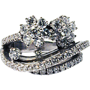Magnificent!  Vintage  Platinum Custom Handcrafted Diamond Ring 3.0 cttw
