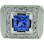 Vintage 14K white gold diamond & Tanzanite ring