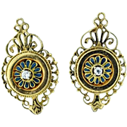 Vintage 14k yellow gold earrings diamond & enamel