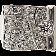 Vintage Platinum diamond cocktail ring art deco style circa: 1950's