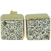 Vintage 14k yellow gold diamond earrings