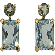 14K Yellow Gold Vintage Blue Topaz Emerald Cut Stud Earrings.