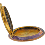 Vintage Art Deco Guilloche plum  enamel pill box or compact.