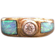 14K Yellow Gold Diamond & Opal Inlay  Ring