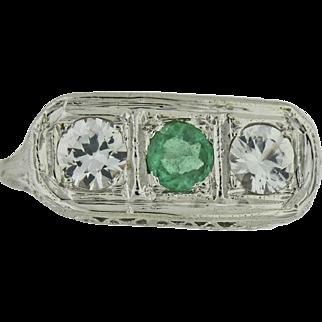 18K Art Deco Emerald & White Sapphire Side Stones.  Circa 1920's.