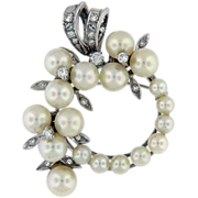 14K White Gold Diamond,  Cultured Akoya pearl Brooch/Pendant