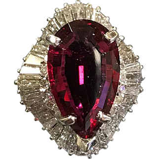 Estate Custom Handmade  Platinum 6 Ct. Pear  Neon Rubellite  Tourmaline & Baguette Diamond Ring.