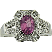 14K White Gold Vintage Oval Natural Pink Sapphire & Diamond Ring