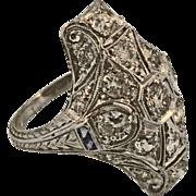 Extraordinary Platinum Art Deco Diamond & French Sapphire Ring
