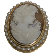 14K yellow Gold Antique Victorian Cameo Brooch/Pendant