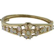 14K Yellow Gold and Opal Bangle Bracelet